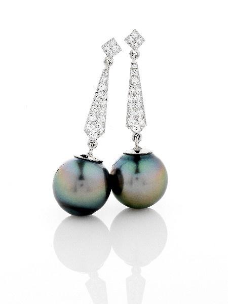 'Marlina' tahitian pearl and diamond earrings