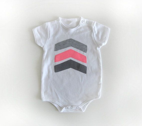 Baby girl Grey and neon pink chevron arrows appliqued by bugnbee, $17.00