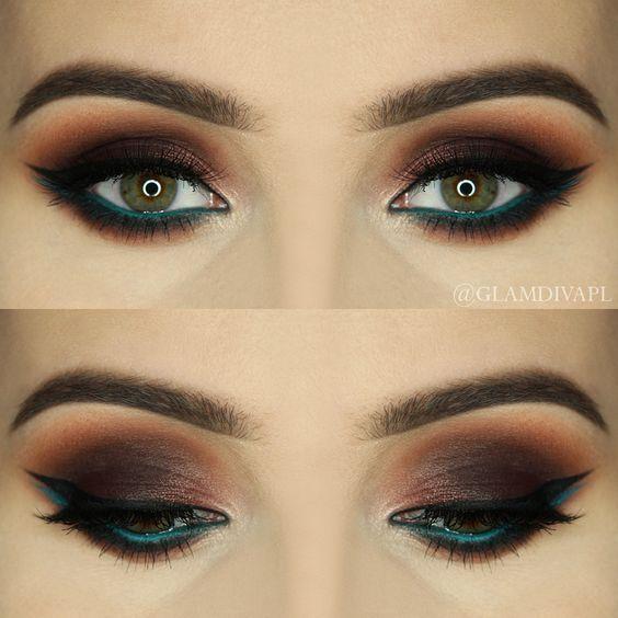 Makeup Geek Brow Brush Duo + Makeup Geek Eyeshadow in Shark Bait + Makeup Geek Gel Liner in Immortal. Look by: GlamDiva.pl:
