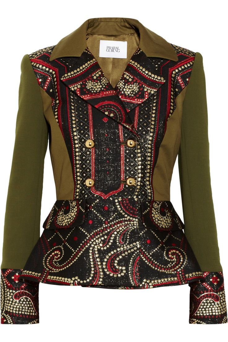 Prabal Gurung | Metallic brocade and stretch-wool peplum jacket…