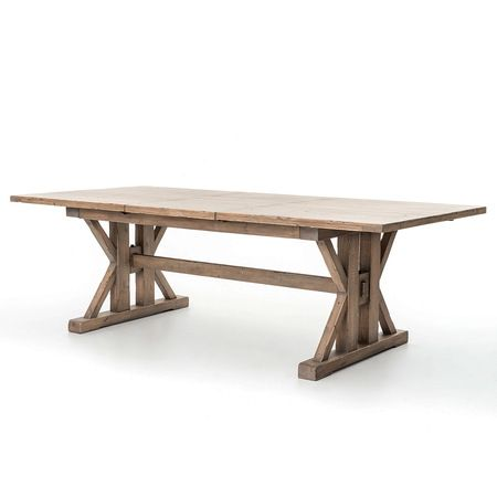 Coastal Natural Wood Trestle Extension Dining Table 96""""