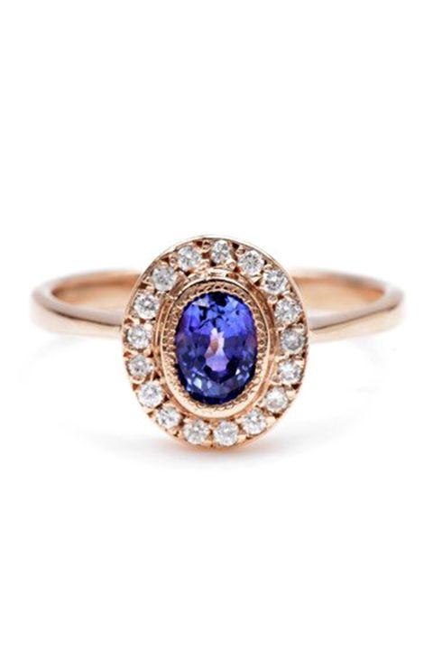 Think pink. Rose gold engagements rings are so beautiful and will probably be your next purchase! Here is the Lori McLean Fine Jewelry Oval Sapphire Halo Ring ($2,398)!