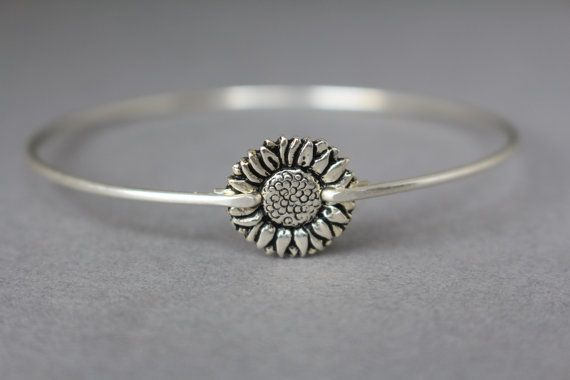 Silver Sunflower Bangle Bracelet Stacking Bangles by Bauble Vine $15.95