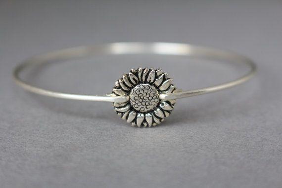 Silver Sunflower Bangle Bracelet Stacking Bangles by Bauble Vine $15.95