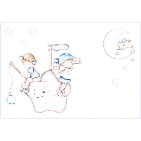 Decoración infantil Il Mondo di Alex, Papel mural efecto pintado a mano, PIRATAS AZULES... personalizado con nombre o frase y a medida.