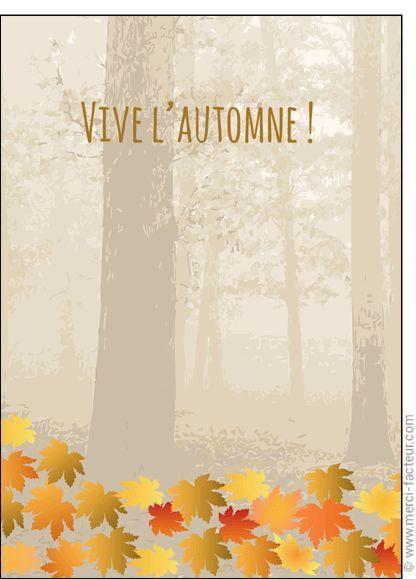 #carte #illustration #couleur #autumn #leaves #color #plantes #café #cards #snail #autumn #plants #leaves #mushroom #coffee Carte Vive l'automne et feuilles automnales pour envoyer par La Poste, sur Merci-Facteur !