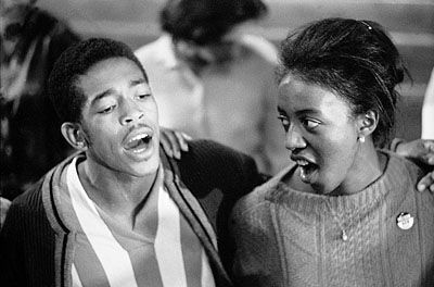 Hollis Watkins and Arvenna Hall of the Student Nonviolent Coordinating Committee (SNCC) after being released from jail, Jackson, Mississippi.