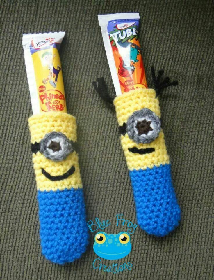 Minion freezie holders. www.facebook.com/bluefrogcreations
