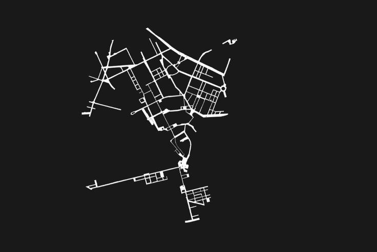 3rd black and white graphic Stockholm map by artist Rebecka Bebben Andersson