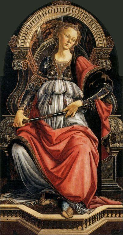 """Fortitude""  --  1470  --  Sandro Botticelli  --  Oil on wood  --  Uffizi Gallery  --  Florence, Italy"