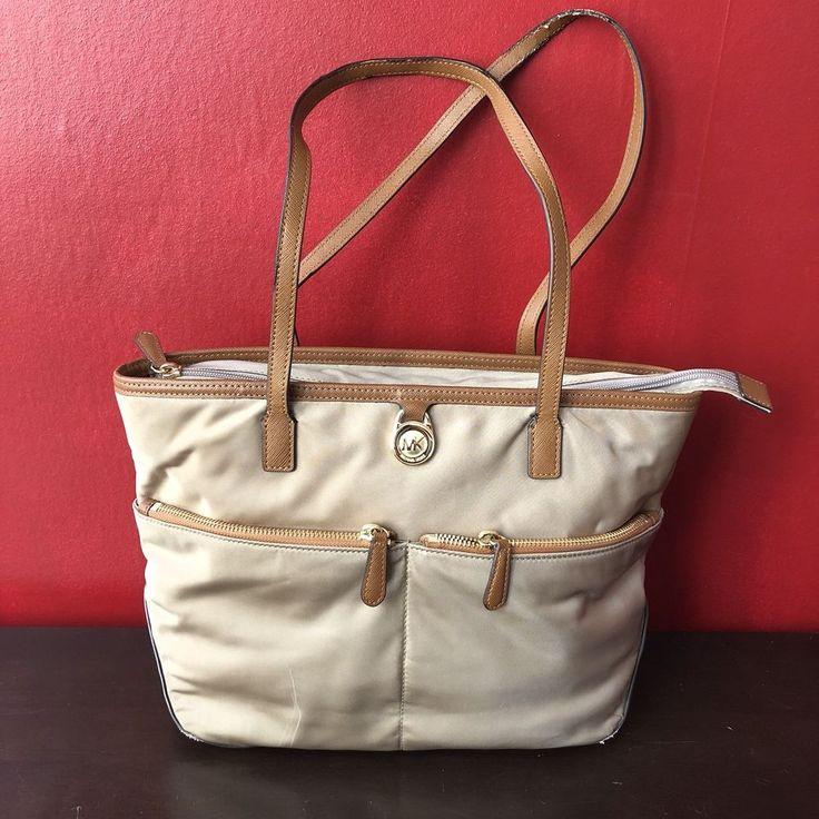 Michael Kors medium nylon tote bag tan brown purse SEE DESC  | eBay