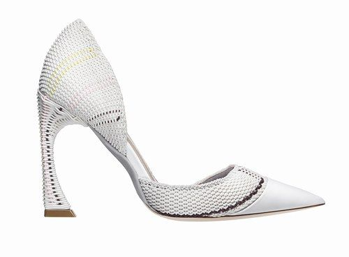 Décolleté a punta in elastici in nylon intrecciati bianchi e pelle di vitello bianca   Collezione #Dior P/E 2015