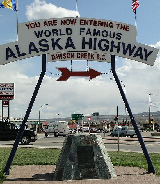 Dawson Creek, BC, Canada. Start of the Alaska Highway. We drove our CAMPER from California to Fairbanks Alaska. In 1978, we had to travel about 2000 miles of DIRT ROAD. It was messy! Dusty when we had dry weather and muddy when it rained. NOW it's paved all the way. We took the CASSIAR Hiway back.