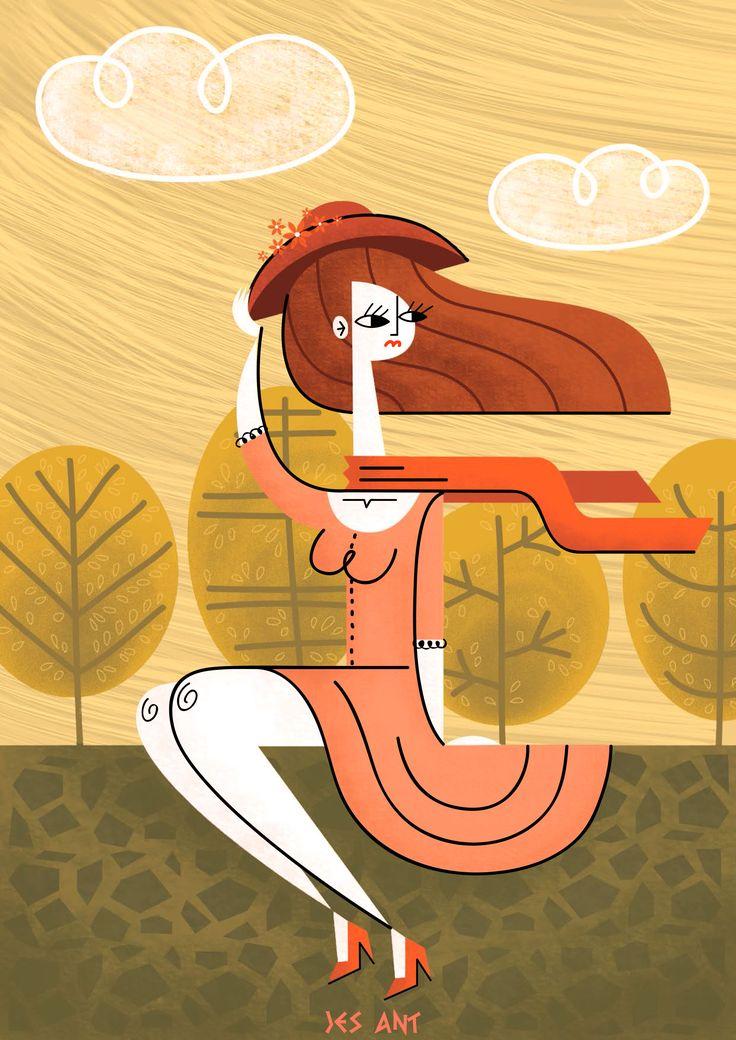 Wind by JesAntArt #illustration #vintage #scarf #yellow #wind