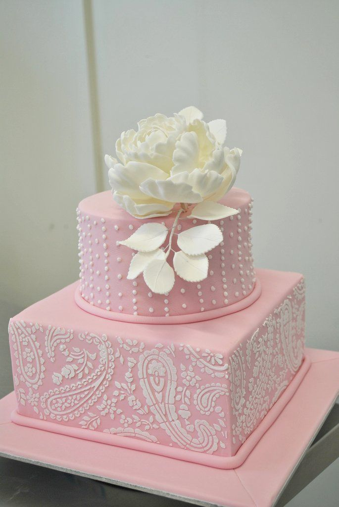 Stencil With Peony Rose Cake Cakes Cupcakes For Wedding