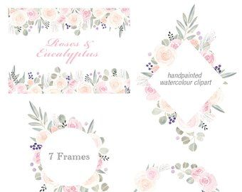 Floral Frame Clipart – flower arrangement, pre-made invites, summer flowers, pink blue roses clip art, downloadable wedding invitations, PNG