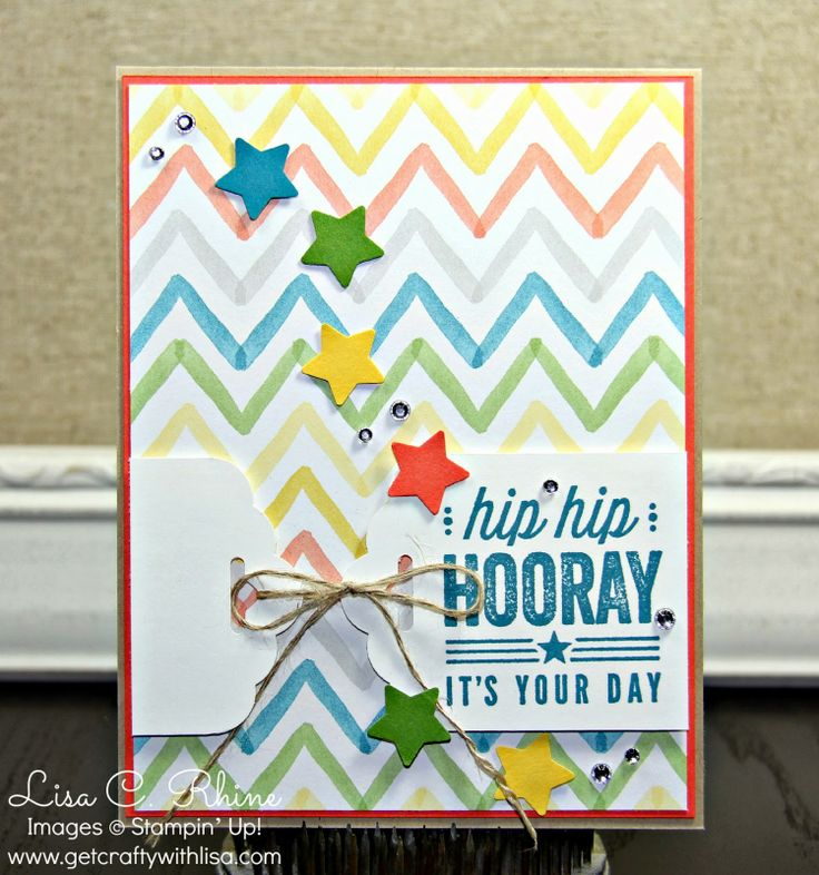 Get Crafty with Lisa:  Hip Hip Hooray Birthday.  This Hip Hip Hooray Birthday Card features Stampin' Up!'s Watercolor Wonder Designer Series Paper, Hip Hip Hooray Card Kit, and the Scalloped Tag Topper Punch, by Lisa Rhine, www.getcraftywithlisa.com