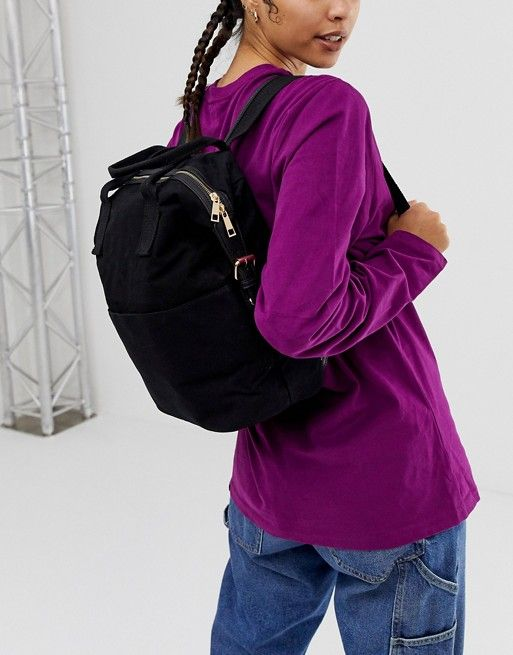 4e2bae047 ASOS DESIGN zip over canvas backpack with double handle | ASOS
