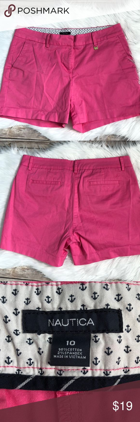 """Nautica Hot Pink Shorts Size 10 Hot pink shorts size 10 17"""" waist laying flat 5"""" inseam Excellent condition, only worn a few times Nautica Shorts"""