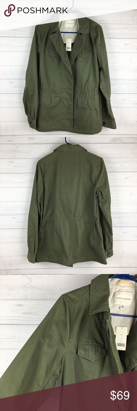 """NEW Banana Republic Military Field Jacket Coat 10 NWT Banana Republic Military Field Utility Jacket. Army Green. Long sleeve. Button closure. Condition: new with tags. Size: 10. Pit to pit: 19"""". Shoulder to shoulder: 16"""". Length: 28"""". #1287 Banana Republic Jackets & Coats Utility Jackets"""