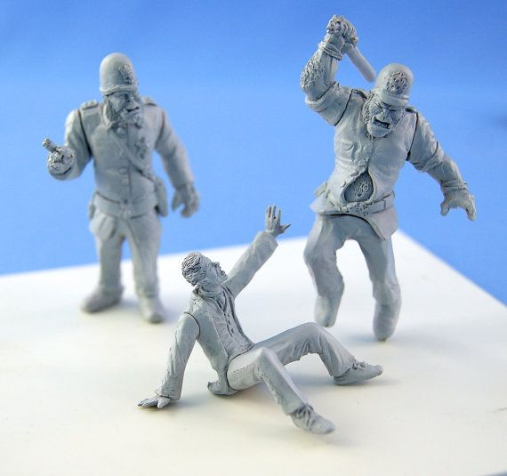54mm Steampunk Orc cops in action - resin miniature