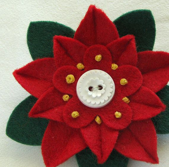 Navidad rojo fieltro flor perno Poinsettia con por dorothydesigns