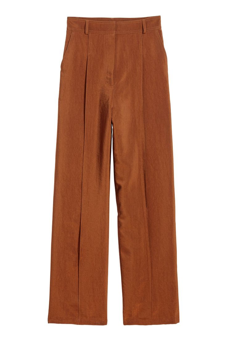 Check this out! Wide-cut pants in thick, woven fabric with a sheen. High waist, zip fly with concealed hook-and-eye fastener, and pleats at front. Dropped gusset, side pockets, and mock back pockets. Straight legs. - Visit hm.com to see more.