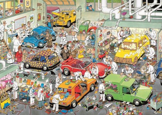 Jan van Haasteren: In de autospuiterij (500 stukjes)