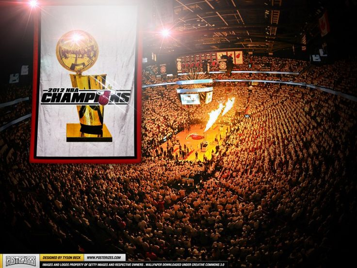 Miami Heat are your 2012 NBA Champions and what better way to celebrate their achievements than this artwork of the traditional rise of the Championship Banne