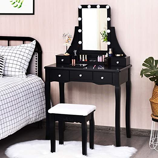 Black Vanity Set Makeup Dressing Table, Black Vanity Set With Lighted Mirror And Stool