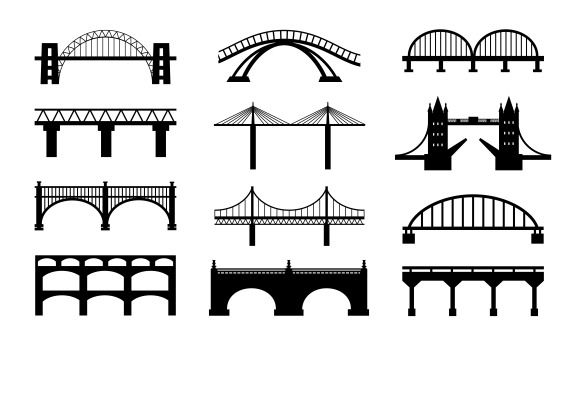 Check out Vector bridges silhouettes icons by Microvector on Creative Market  Useful. I can think of no end of things to make stuff with these. :D