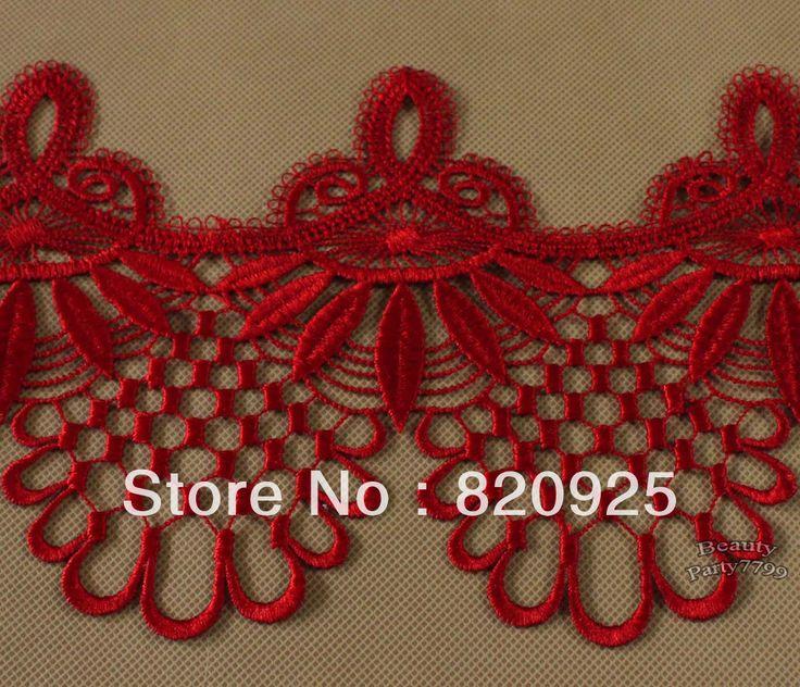 3 Yards Beautiful Red Fabric Venise Lace Trim Fringe Embellishment Crafts