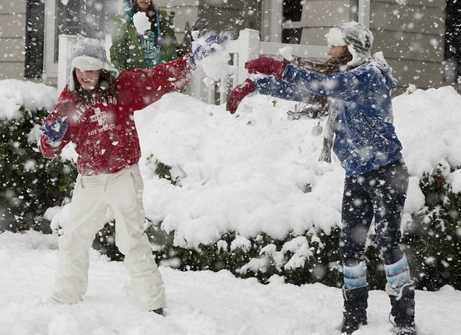 Megan Watt left, and Cari Whiterow right, battle for the upper hand during a snow fight Saturday, Oct. 29, 2011. JOHN C. WHITEHEAD/The Patriot-News #snow