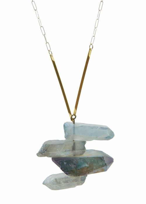 Stratosphere Necklace with Layers of moveable quartz that allow you to change the shape of the pendant