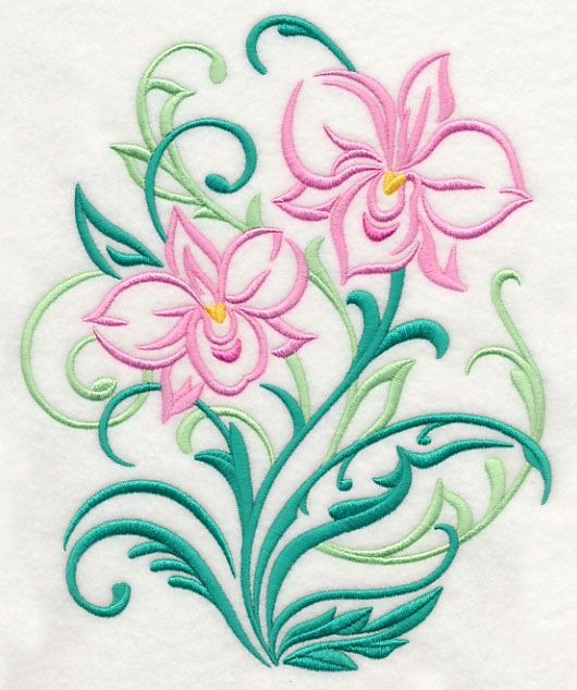 124 best images on pinterest embroidery embroidery lively swirls and leaves dress up this pretty flower design light enough to stitch on many different fabrics mightylinksfo