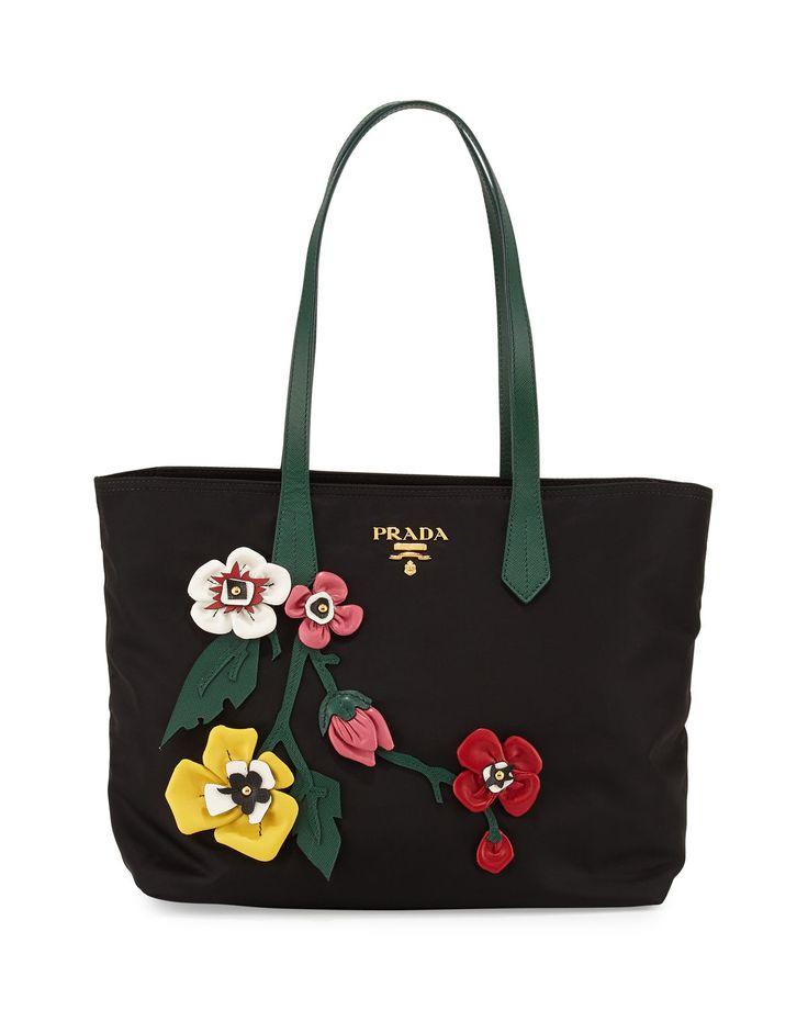 Prada Tessuto Medium Flowers Shopping Tote Bag