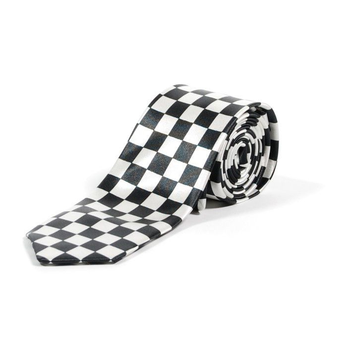 White And Black Checkered Check Skinny Neck Tie Ska Punk. NEW