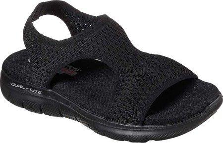 d12dd47f7466 Women s Skechers Flex Appeal 2.0 Deja Vu Slingback Sport Sandal -  Black Black with FREE