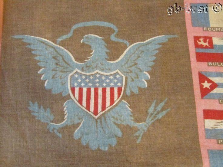 "Eagle Shield Antique c 1876 Flags of Nations CENTENNIAL Fabric 50"" x 36"" RARE"
