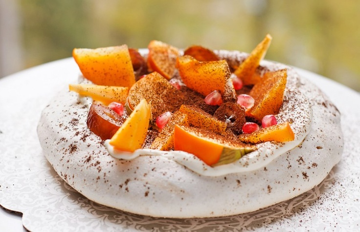 Pavlova. Coffee. Cardamon. Persimmon. Dates. Pomegranate.