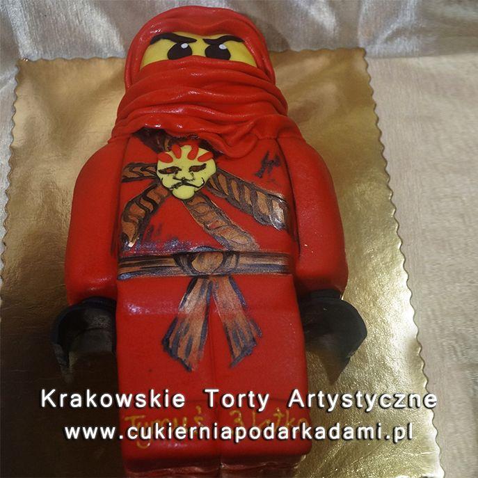 125. Przestrzenny tort czerwony Lego Ninjago. 2D cake with red Lego Ninjago.