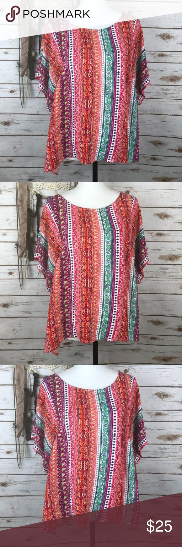 """Maeve Boho Aztec Batwing Blouse Pink Multi Color Size Large  Bust: 23"""" Length: 25"""" Batwing Short Sleeve  Boxy Fit  Aztec Print  100% Viscose  Dry Clean   In excellent condition  No rips, holes, or stains Anthropologie Tops Blouses"""