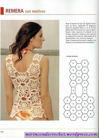 Otra remera para superponer | Mi Rincon de Crochet the pattern is good may change the motif