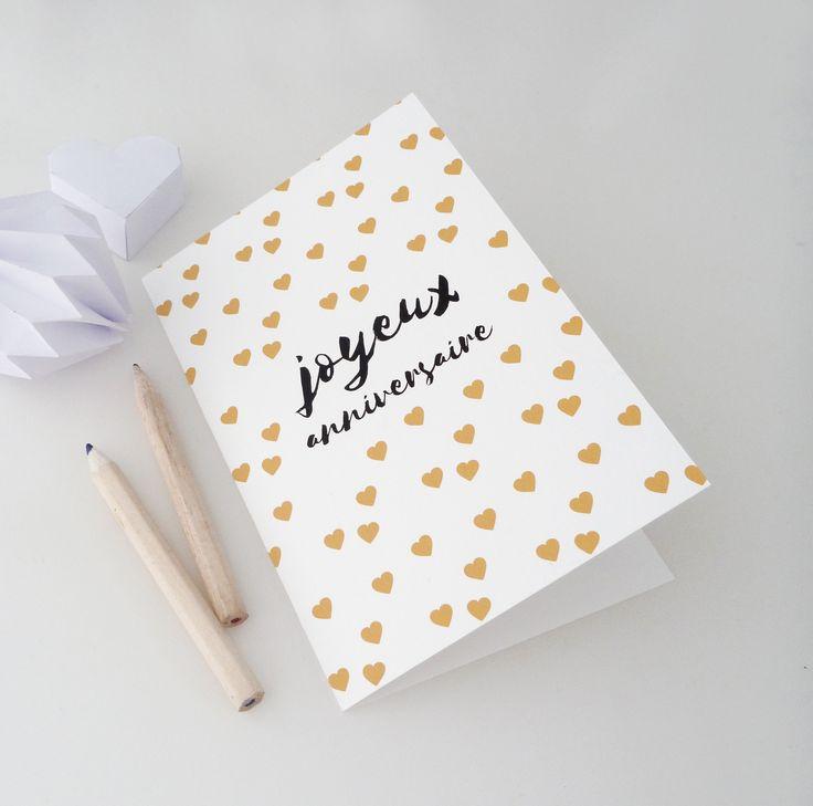 """Carte double """"Joyeux anniversaire"""" illustrée de petits cœurs : Cartes par papierpapier"""