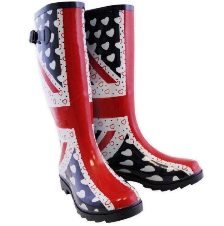 union jack clothes and shoes for babies | UNION JACK BRITISH FLAG HEARTS FESTIVE WELLINGTON BOOTS WELLIES SHOES ...