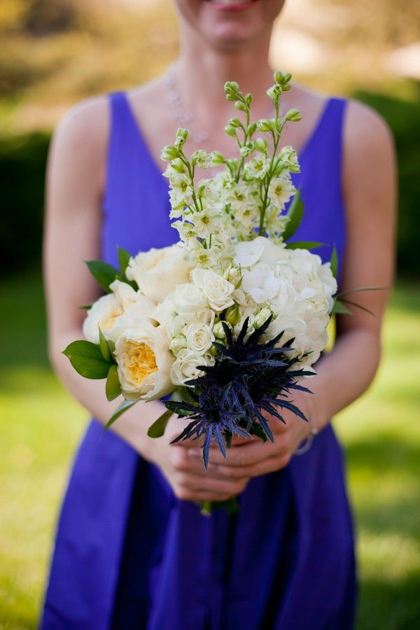 Garden rose, hydrangea, phlox and thistle bridesmaid bouquet. Weber Photography. A Day in May Events.