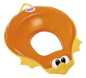 Ducka Soft padded toilet training seat reducer Can be fitted securely to most toilet seats It is equipped with two handles that the kid can hold on to Padded seat can be removed easily for cleaning Anti-slip rubber caps that prevent the toilet seat reducer from moving Cleverly angled to minimize any splashing