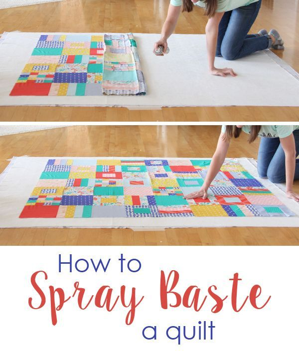 I flip flop between spray basting and pin basting, but lately I've been reaching for a can of spray more often than not! Below is a simple how to for spray basting, including 15 headless photos of me.