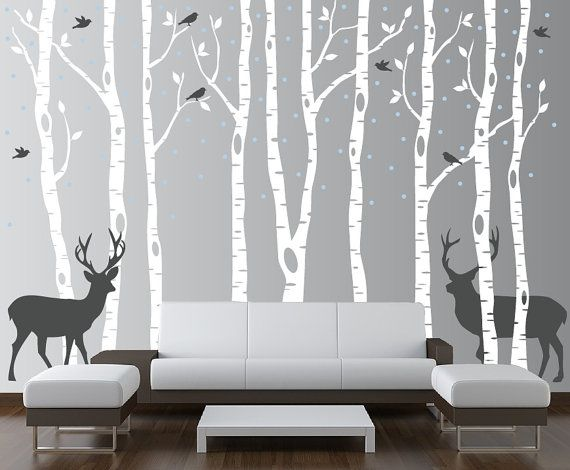 Birch Tree Wall Decal Forest with Snow Birds and Deer Vinyl Sticker Removable (9 trees) 6 feet tall 1161