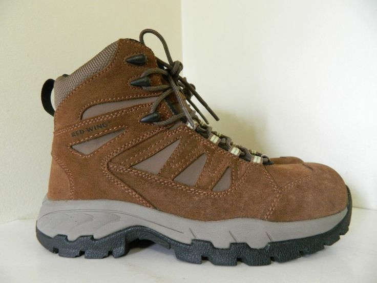 Women39s Red Wing Brown Suede Leather Steel Toe Hiking Work